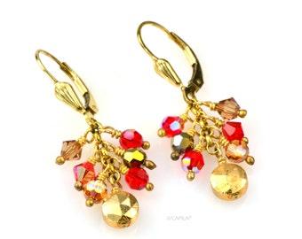 SALE Red & Gold Earrings