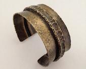 Fold formed brass cuff bracelet - oxidized brass cuff - folded brass cuff - boho style