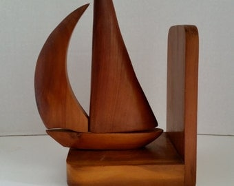 Teak Sailboat Bookend, Mid Century Modern, Nautical, Beach House