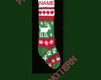 Pattern only  ---  Hand knit Christmas stocking,  reindeer, dog, house, heart and snowflake