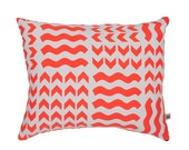 Lucknow Fluoro/Sky Screen-Printed cushion