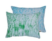 Painter Green/Turq/Sky Screen-Printed cushion