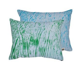 Painter Green/Turq/Sky Screen-Printed cushion