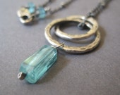 Aqua Apatite, Gemstone Necklace, Fine Silver Link Jewelry, Hammered Circle Necklace, Free Shipping