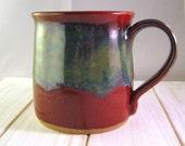 Ceramic Coffee Mug, Pottery Tea Cup, Red Blue  Green Mug, Gift for Him, Ceramic Cup