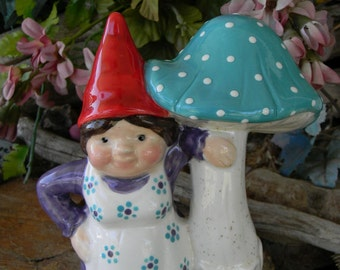 Girl Gnome with Mushroom - glazed glass ceramic turquoise shroom Lady with red hat Woman