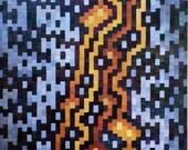 ORIGINAL Acrylic Painting on Canvas -- Pixel Painting 2, Kintsugi