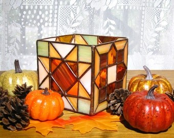 Autumn Candleholder Stained Glass Candleholder in Brown, Orange, and Lime Autumn Candle Holder On Sale Candle Holder Glass Candle Holder