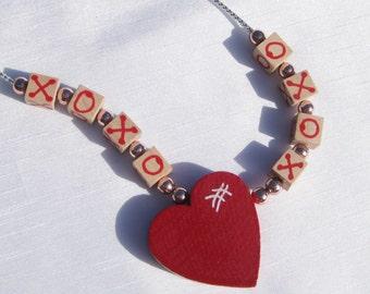 Valentine Heart Jewelry Valentine Heart Necklace XOXO Necklace Wooden Heart Pendant Necklace Valentine Hugs and Kisses Valentine Necklace