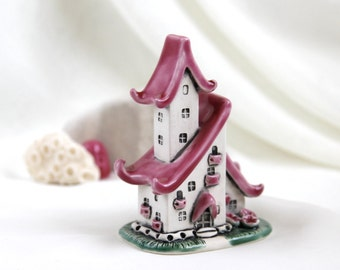 Romantic Pink summer House of tiny fairies -- unique Hand Made Ceramic Eco-Friendly Home Decor by studio Vishnya