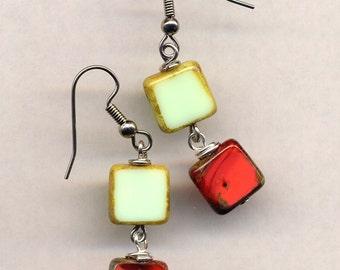 Coral Wine Red Mint Green Earrings, Rare Czech Glass Earrings, Surgical Steel Earrings, OOAK Earrings - handmade jewelry by AnnaArt72