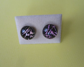 Dichroic Glass Stud Earrings Surgical Steel Hypoallergenic Black with Pink/gold Design Handmade