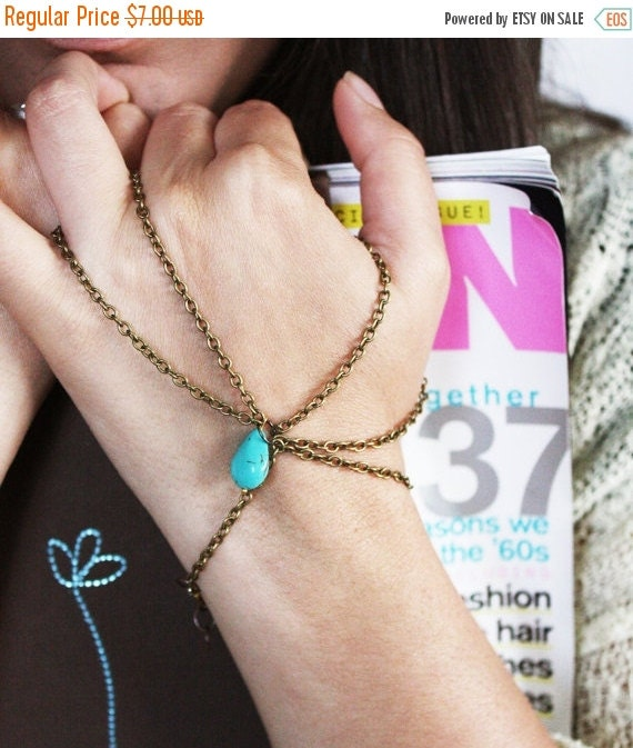 CLEARANCE SALE Hand Chain Bracelet Piece Single Bronze Chain Turquoise Stone Thumb and Ring Finger Boho Hipster Boho Bohemian