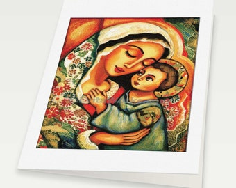 Virgin Mary Jesus child Madonna with Child mother child art motherhood Christian folk art, mother woman card, woman card, 6x8