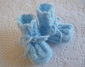 Knitted Newborn  Booties. Handmade Baby Boy Socks. Knitted  Baby Shoes. Baby Shower Gift