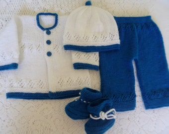Newborn Outfit, Knitted  Baby Set, Baby Shower Gift, Take Home Set,   Four Pces Ensemble, Newborn Boy Set.
