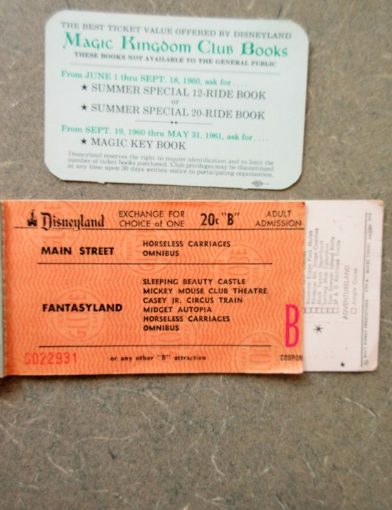 dating vintage disneyland ticket books