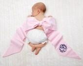 Monogrammed Seersucker Maternity Sash baby Bow Pink or Blue