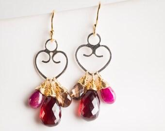 Alaya: Heart Dangle Earrings w/ Colorfull Gemstones, Ruby, Garnet, Zircon, Gold-filled, Silver, Drop, Petite, Red, Burgundy, Wine, Two-tone