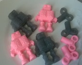 Mini Robot Soap Set - pink and gray - Goat Milk and Glycerin Soap - Gift for Her - Teen - Novelty - Shaped Soap - Party Favor - Girl