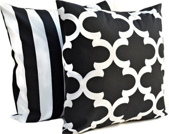 Set of 2 Decorative Throw Pillow Quatrefoil, Stripes COVERS - Black White - Fynn and Canopy Stripes  - Available in 16x16, 18x18, 20x20
