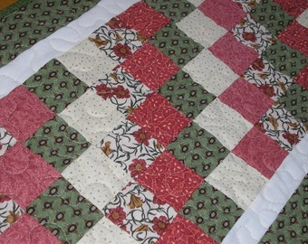 Quilted Table Runner, Green and Rose/Salmon Patchwork, 16 1/2 x 38 inches