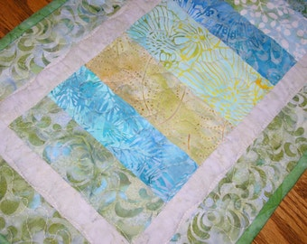 Quilted Table Runner, Soft Batiks in Blues, Aqua and Greens, 12 1/2 x 40 inches
