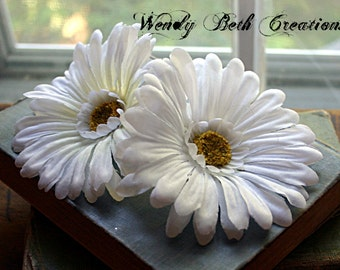 White Daisy - Single or Duo - Vegan Friendly - ATS or Tribal Fusion Belly Dance Hair Art Fascinator Clip Set