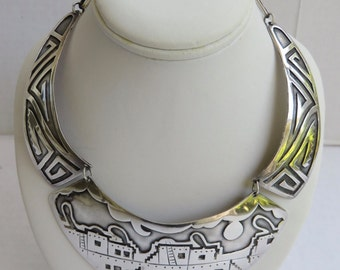 Vintage Sterling Silver Modernist/ Tribal Hopi Bib/Choker Necklace