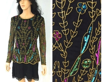 Vintage Black Beaded Blouse. Pink Blue Green Gold. Fancy. Long Sleeve. Small. Stenay. Wedding. 1980s. Under 50. Sheer Sleeves. Evening
