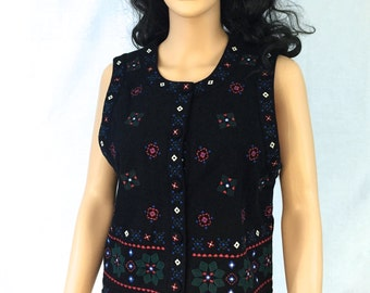Vintage Black Wool Vest. Festive. Christmas. Holiday. Talbots Petites. Small. Red. Green. Blue. White. Floral.
