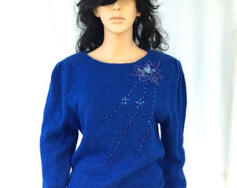 Vintage Cobalt Blue Beaded Sweater. Holiday. Festive. ML Studio. Small. Acrylic. Wool. Cozy Winter Fashion. 1980s. Under 20.