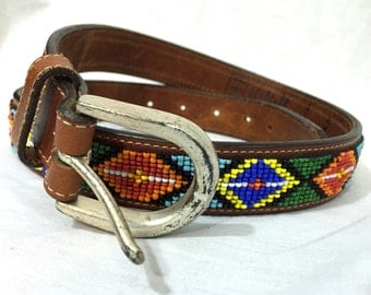 Vintage Leather Beaded Belt. Gap. 1990s. Brown Leather. Silver Buckle. Fun Unique Colorful Belt. Country. Under 30. Size 32.