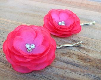 2 Small Hot Pink Flower Fascinator Ranunculus Rhinestone Hair Pin Bridal Head Piece Wedding Bride Little Floral Clip Silk Flower Barrette