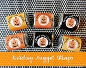 54 Halloween Candy Wraps Hershey Nugget Wraps-Chocolate Candy-Square Pumpkin Party Treat