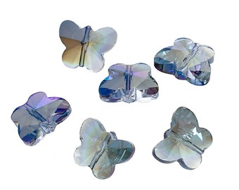 Glass Butterfly Bead - Blue with AB - Set of 10 - #LK111