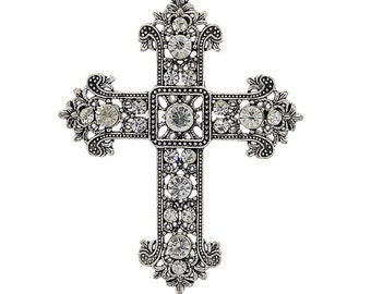 Large Cross Pendant - Clear Rhinestone - #PND186