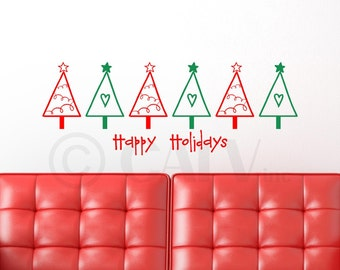 Multi-Color Christmas Trees with Happy Holidays vinyl lettering wall decal sticker