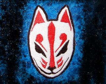 Kitsune Fox Patch Mask  Iron on Patch