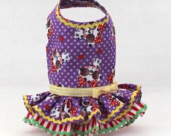 Dog Harness, Dog fashion, Ruffle, Harness for small dogs, Dog vest, custom dog harness, polka dots, purple