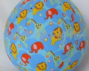 Balloon Ball TOY -  Zoo Animals on Blue - Lion, Elephant, Giraffe - Great Birthday Gift