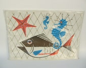 Retro Fish, Sea Horse Paper Placemats by Don Galindo, Signed: Pack of 40 from Monogram of CA, NWT, Original Package, 2 Available