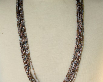 Vintage Necklace Statement Multi Strand Gold Silver Beaded