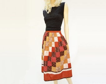 70s Patchwork Skirt, Vintage Boho Skirt, 1970s Prairie Skirt, Rust Calico Skirt, 70s Hippie Skirt, Handmade Skirt, Brown Beige Skirt, medium