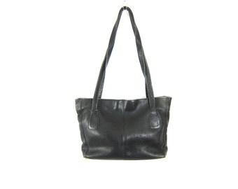 Vintage Black Leather Tote Purse Large Wilson's Leather Shoulder Purse Satchel Messenger Bag Leather Tote Unisex School Bag
