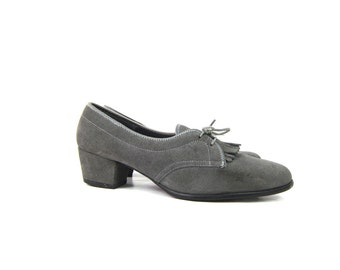 Vintage 70s Gray Suede Leather Shoes Oxford Loafers with Tassles Short Chunky heels Librarian Shoes Women's Size 8.5