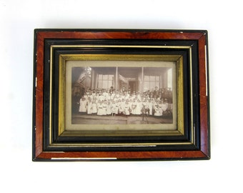 Vintage Black and white framed Photograph Children in white dresses Church Photography School picture Antique Photo in Wooden Frame