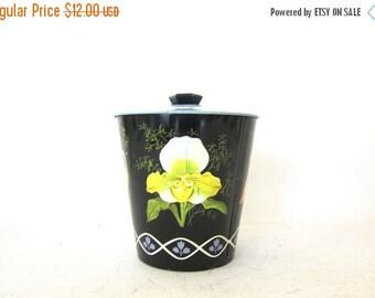 Vintage black metal floral tin with lid / Organizer Storage