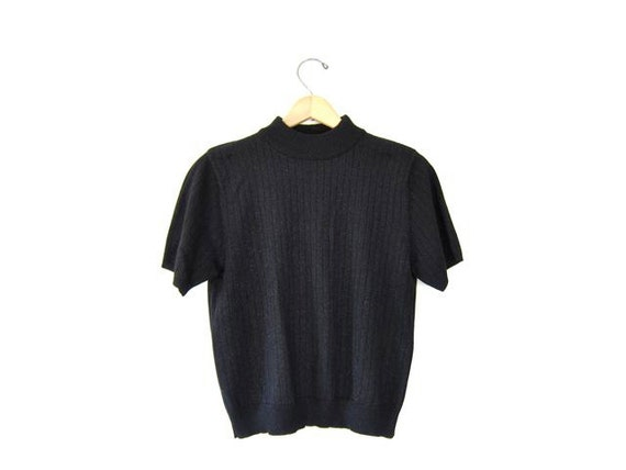 Mock Neck Tee Short Sleeve Ribbed Shirt By