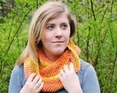 Knit cowl, knit scarf, orange cowl, orange scarf, Chunky cowl, chunky scarf, Wool and silk blend.
